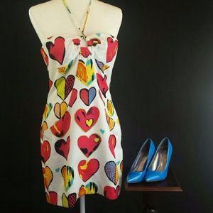 David Meister Heart Print Dress Size 10